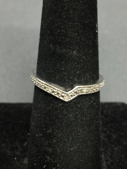 Shared Prong Set Diamond Accented 3.25mm Wide Tapered Sterling Silver Chevron Band