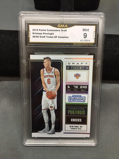 GMA Graded 2018-19 Panini Contenders Draft SP KRISTAPS PORZINGIS Knicks Basketball Card /99 - MINT 9