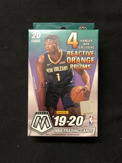Factory Sealed 2019-20 Panini Mosaic Basketball 20 Card Hanger Box with 4 Reactive Orange Prizms