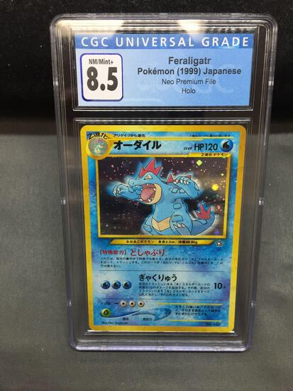 CGC Graded 1999 Pokemon Japanese Neo FERALIGATR Holofoil Trading Card - NM-MT+ 8.5
