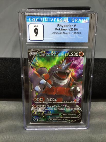 CGC Graded 2020 Pokemon Darkness Ablaze #181 RHYPERIOR V Holofoil Rare Trading Card - MINT 9