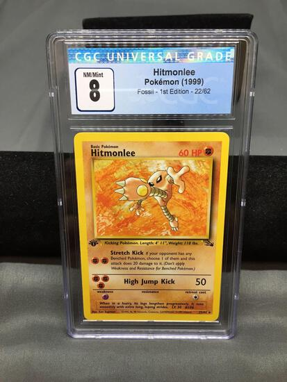 CGC Graded 1999 Pokemon Fossil 1st Edition #22 HITMONLEE Rare Trading Card - NM-MT 8