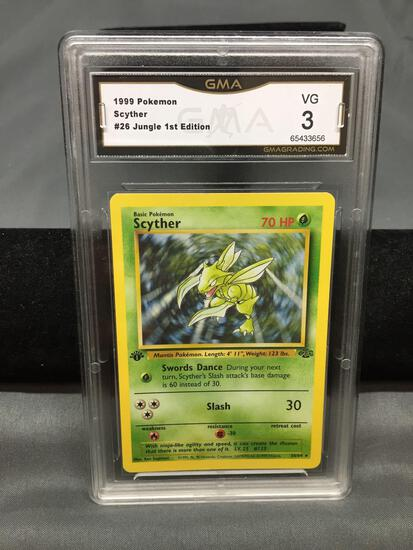 GMA Graded 1999 Pokemon Jungle 1st Edition #26 SCYTHER Trading Card - VG 3