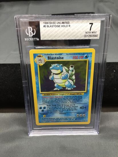 BGS Graded 1999 Pokemon Base Set Unlimited #2 BLASTOISE #2 Holofoil Rare Trading Card - NM 7