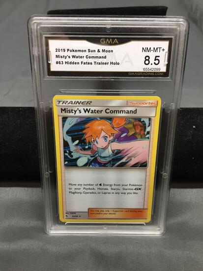 GMA Graded 2019 Pokemon Hidden Fates MISTY'S WATER COMMAND Holofoil Trading Card - NM-MT+ 8.5