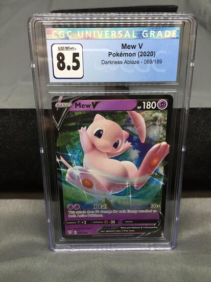 CGC Graded 2020 Pokemon Darkness Ablaze MEW V Holofoil Rare Trading Card - NM-MT+ 8.5