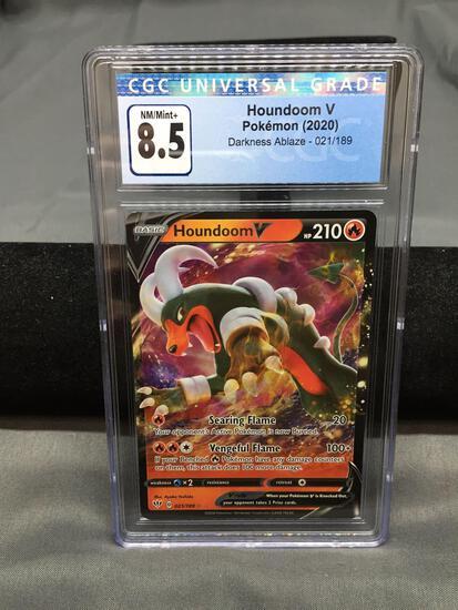 CGC Graded 2020 Pokemon Darkness Ablaze HOUNDOOM V Holofoil Rare Trading Card - NM-MT+ 8.5