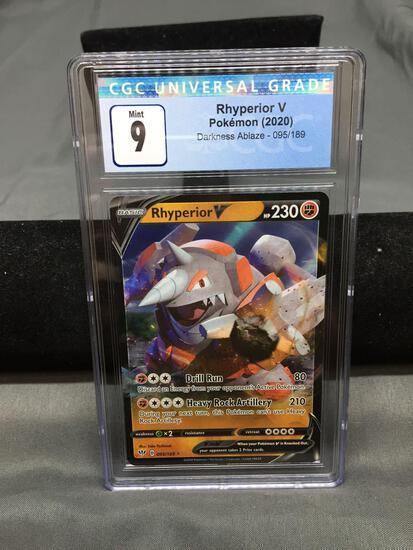 CGC Graded 2020 Pokemon Darkness Ablaze RHYPERIOR V Holofoil Rare Trading Card - MINT 9
