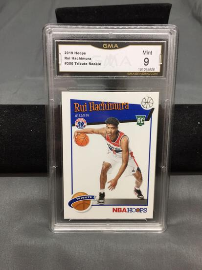 GMA Graded 2019-20 Panini Hoops Tribute #300 RUI HACHIMURA Wizards ROOKIE Basketball Card - MINT 9