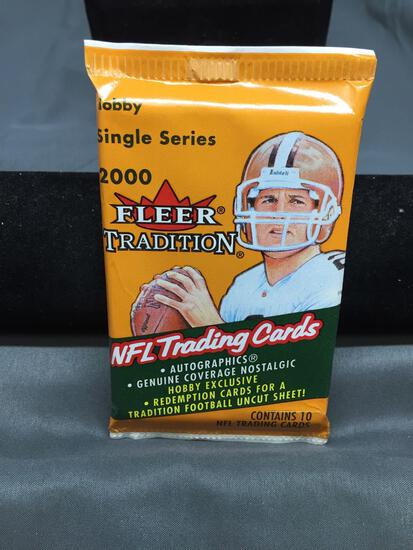 Factory Sealed 2000 Fleer Tradition Football 10 Card Pack from Hobby Box - TOM BRADY ROOKIE?