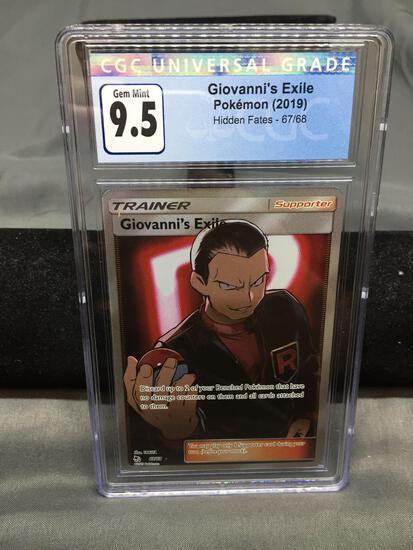 CGC Graded 2019 Pokemon Hidden Fates #67 GIOVANNI'S EXILE Trading Card - GEM MINT 9.5