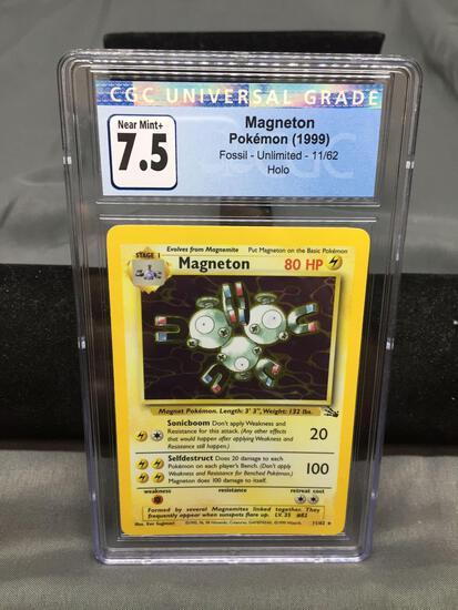 CGC Graded 1999 Pokemon Fossil Unlimited #11 MAGNETON Holofoil Rare Trading Card - NM+ 7.5