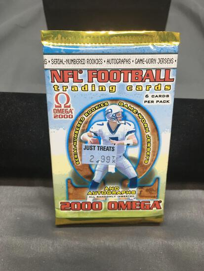 HIGH END - Factory Sealed 2000 Pacific Omega NFL Football 6 Card Pack - Tom Brady RC/Auto?
