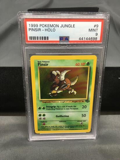 PSA Graded 1999 Pokemon Jungle Holo Rare Pinsir #9 Trading Card - Mint 9