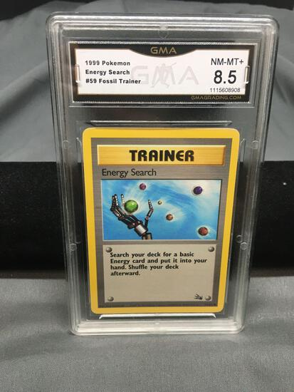 GMA Graded 1999 Pokemon Fossil Energy Search 59/62 Trading Card NM-MT 8.5