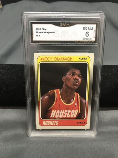 GMA Graded 1988-89 Fleer #53 AKEEM OLAJUWON Rockets Vintage Basketball Card - EX-NM 6