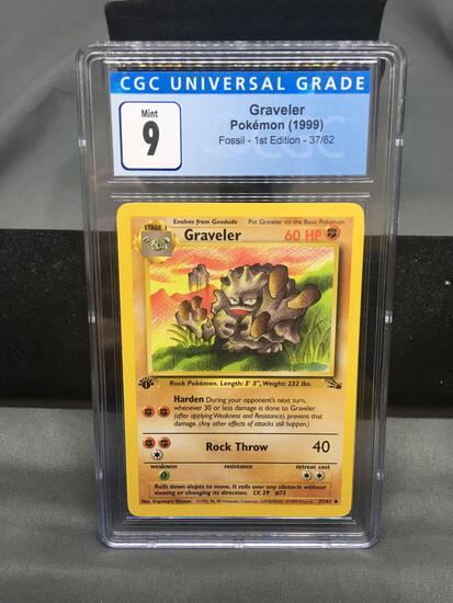 CGC Graded 1999 Pokemon Fossil 1st Edition #37 GRAVELER Trading Card - MINT 9