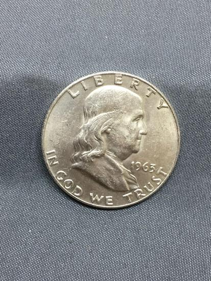 1963-D United States Franklin Silver Half Dollar - 90% Silver Coin - BU Uncirculated Condition