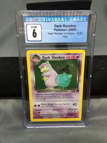 CGC Graded 2000 Pokemon Team Rocket #12 DARK SLOWBRO Holofoil Rare Trading Card - EX-NM 6