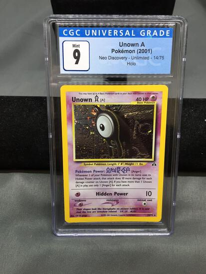 CGC Graded 2001 Pokemon Neo Discovery #14 UNOWN A Holofoil Rare Trading Card - MINT 9