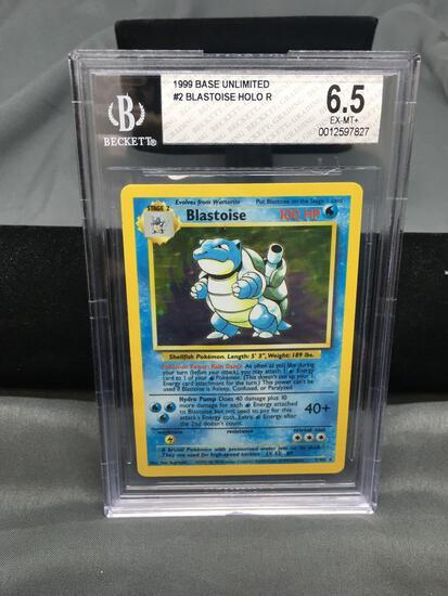 BGS Graded 1999 Pokemon Base Set Unlimited #2 BLASTOISE Holofoil Rare Trading Card - EX-NM+ 6.5