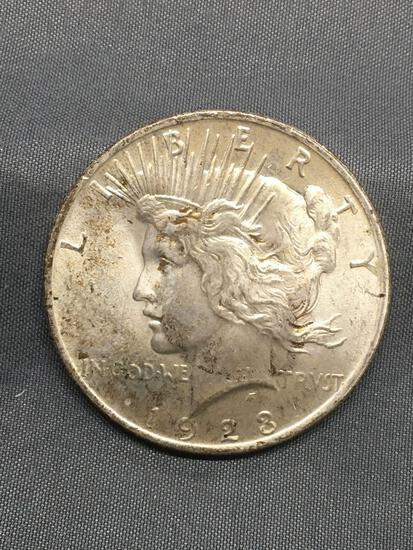 1923 United States Peace Silver Dollar - 90% Silver Coin from Estate