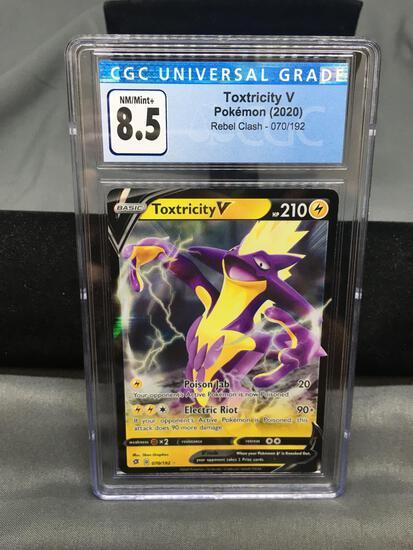 CGC Graded 2020 Pokemon Rebel Clash #70 TOXTRICITY V Holofoil Rare Trading Card - NM-MT+ 8.5