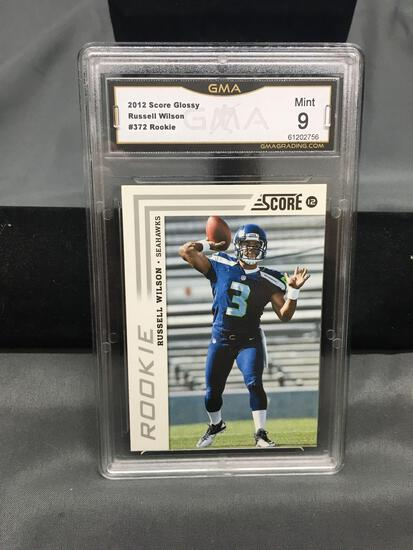GMA Graded 2012 Score Glossy #372 RUSSELL WILSON Seahawks ROOKIE Football Card - MINT 9