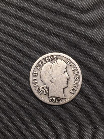 1915 United States Barber Silver Dime - 90% Silver Coin