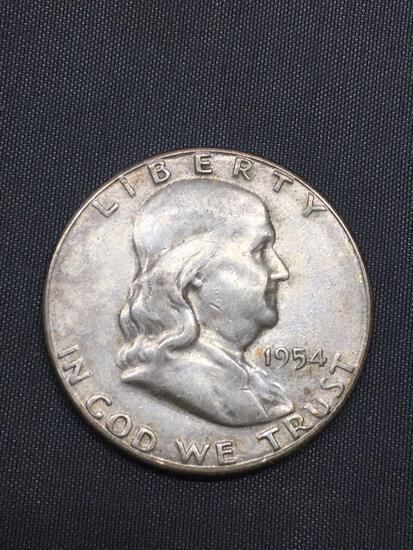 1954-D United States Franklin Silver Half Dollar - 90% Silver Coin from Estate