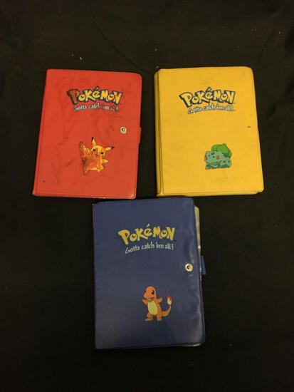 Lot of 3 Small Binders of Mixed Vintage Pokemon Cards from Collection