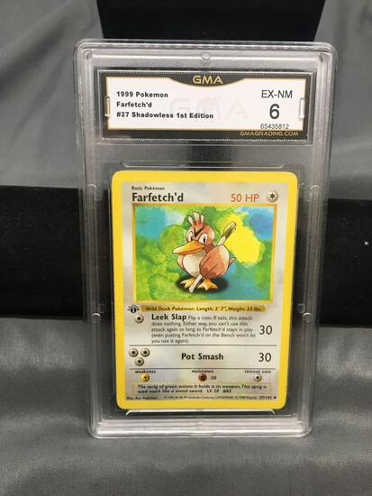 GMA Graded 1999 Pokemon Base Set 1st Edition Shadowless #27 FARFETCH'D Trading Card - EX-NM 6