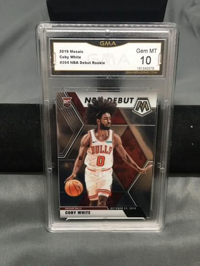 GMA Graded 2019-20 Panini Mosaic #264 COBY WHITE Bulls ROOKIE Basketball Card - GEM MINT 10