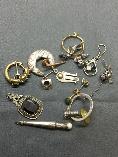 Sterling Silver Jewelry Scrap Lot Earrings - 26 Grams