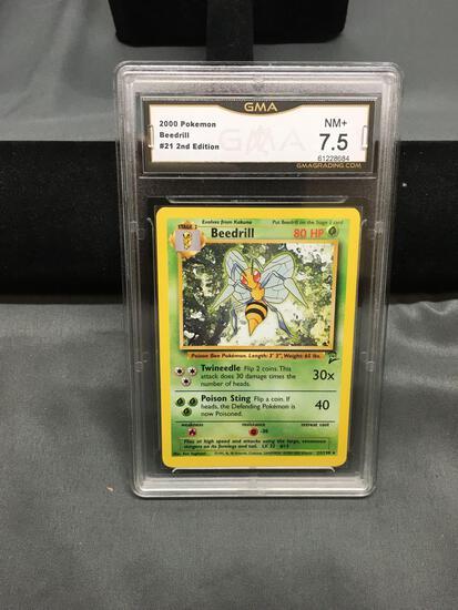GMA Graded 2000 Pokemon Base 2 Set #21 BEEDRILL Rare Trading Card - NM+ 7.5