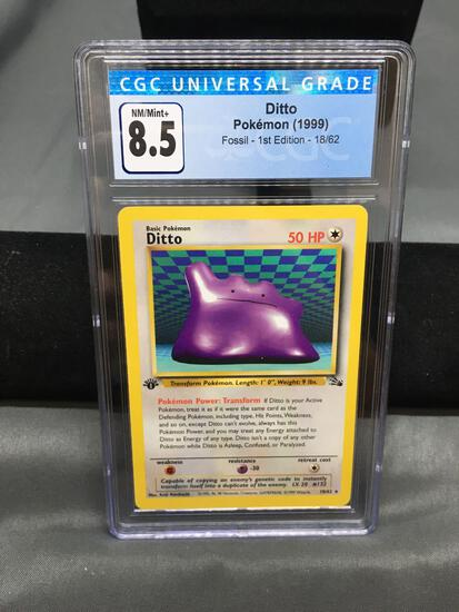 CGC Graded 1999 Pokemon Fossil 1st Edition #18 DITTO Rare Trading Card - NM-MT+ 8.5