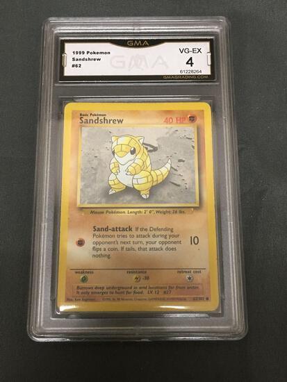 GMA Graded 1999 Pokemon Base Set Unlimited #62 SANDSHREW Trading Card - VG-EX 4