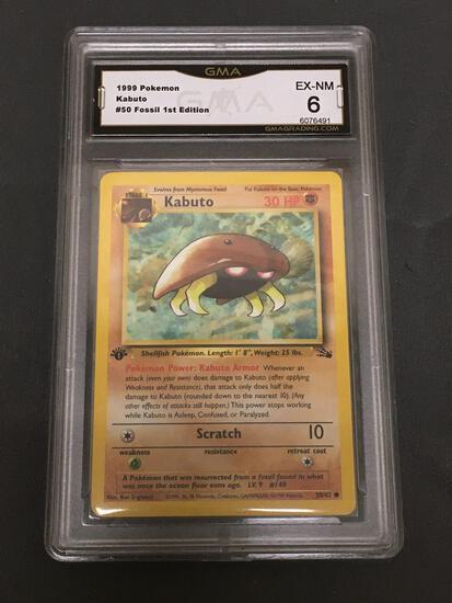 GMA Graded 1999 Pokemon Fossil 1st Edition #50 KABUTO Trading Card - EX-NM 6