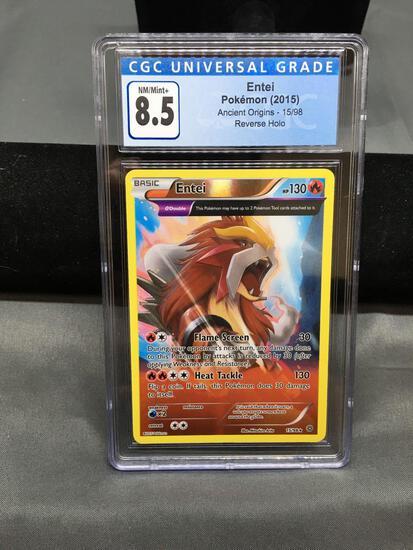 CGC Graded 2015 Pokemon Ancient Origins ENTEI Reverse Holo Rare Trading Card - NM-MT+ 8.5