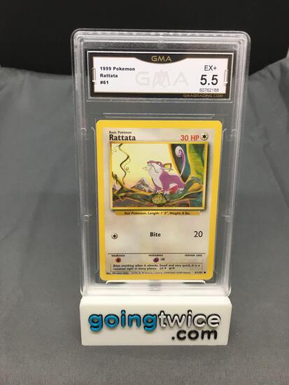 GMA Graded 1999 Pokemon Base Set Unlimited #61 RATTATA Trading Card - EX+ 5.5