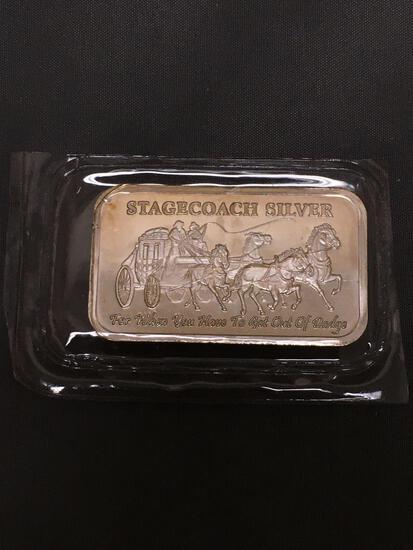 1 Troy Ounce .999 Fine Silver Breakable STAGECOACH Silver Bullion Bar - Breakable into Quarters