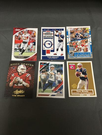 6 Card Lot of TOM BRADY New England Patriots Football Cards from Huge Collection