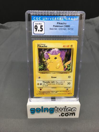 CGC Graded 1999 Pokemon Base Set Unlimited #58 PIKACHU Trading Card - GEM MINT 9.5