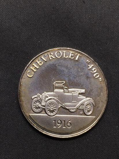 7.6 Grams .925 Sterling Silver Franklin Mint Proof Silver Bullion Coin - 1916 Chevrolet 490