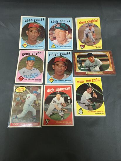 9 Card Lot of 1950's Topps Baseball Cards with Stars from Estate Collection