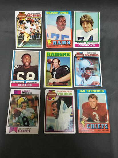 9 Card Lot of 1970's Vintage Football Cards with Stars and Hall of Famers from Estate