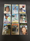 9 Card Lot of 1970's Topps Baseball Cards with Stars and Hall of Famers from Estate Collection