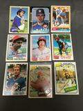 9 Card Lot of 1980's Topps Baseball Cards with Stars and Hall of Famers from Estate Collection