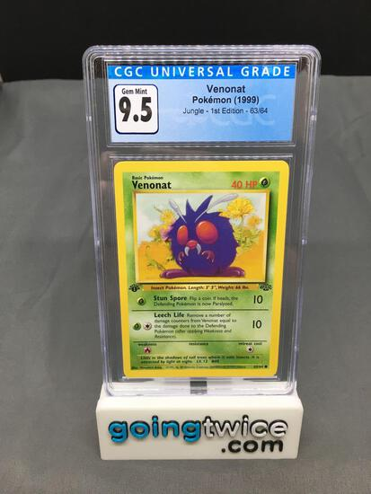 CGC Graded 1999 Pokemon Jungle 1st Edition #63 VENONAT Trading Card - GEM MINT 9.5