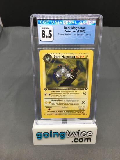 CGC Graded 2000 Pokemon Team Rocket 1st Edition #28 DARK MAGNETON Rare Trading Card - NM-MT+ 8.5